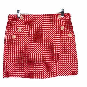 NWOT J.Crew textured woven red/cream skirt